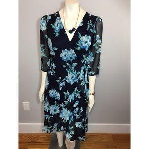 Long Sleeve Floral Midi Dress SZ Small